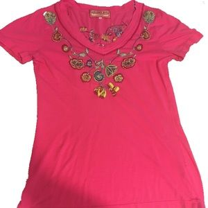 Johnny Was Large Embroidered Top Pink and Floral